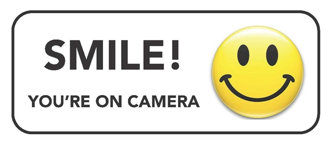 Smile You're on Camera-White Static Cling