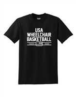 Black USA Wheelchair Basketball T-Shirt