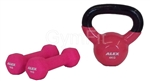 4KG Cast Iron Vinyl Coated Kettlebell & 1kg Pink Dumbbell Pair