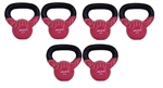 Pink 4kg Kettle Bell Set of 6 Vinyl Coated