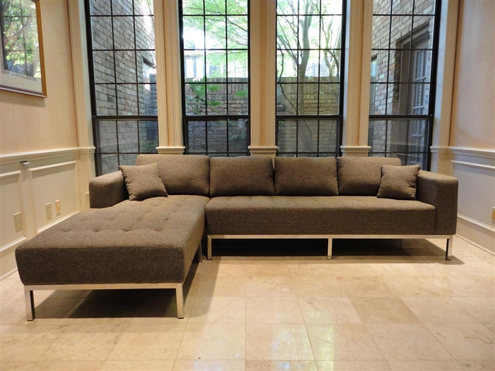 3920 Lfc Gy Dresden Sectional Sofa Left Facing Chaise Grey