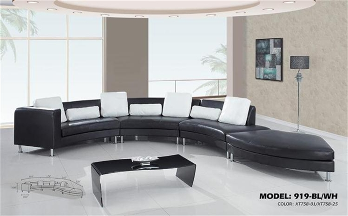 S Curved Sectional Sofa with Contrasting Modern Pillows 919SEC