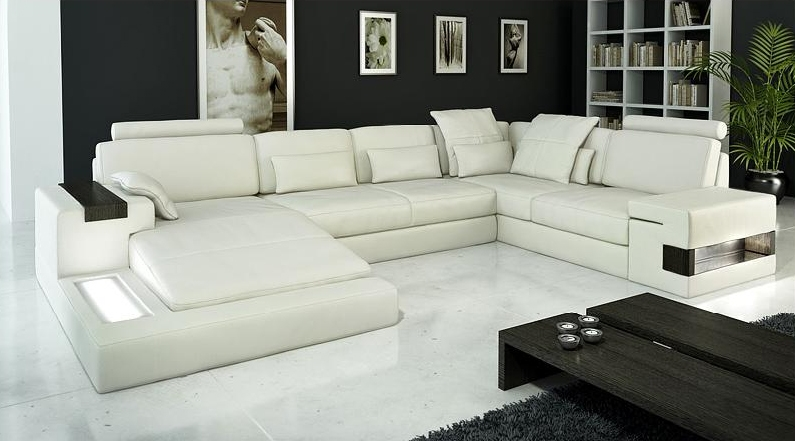 Modern Ivory Italian Design Top Grain Leather Sectional Sofa