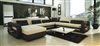 Ultra Modern Cream and Black Leather Sectional Sofa CP-2200