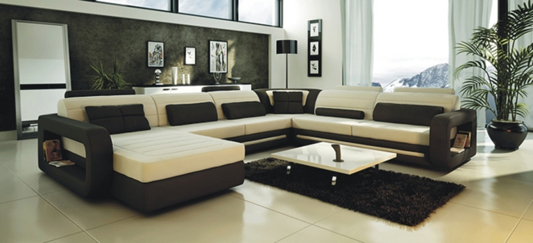 Modern Cream and Black Leather Sectional Sofa CP2200