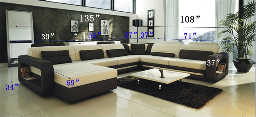 Ultra Modern Cream and Black Leather Sectional Sofa