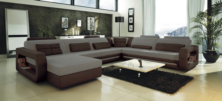 Ultra Modern Grey Leather Sectional Sofa