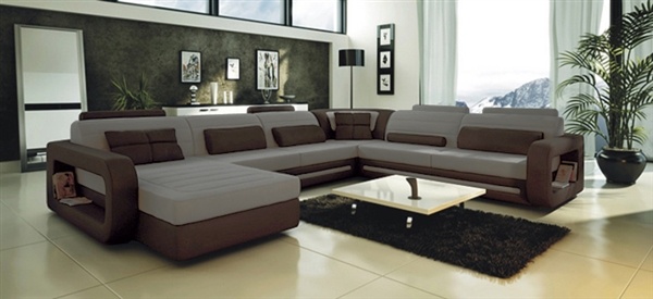 Ultra Modern Grey Leather Sectional Sofa CP-2200-GB
