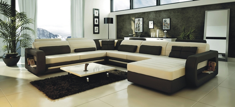 Modern Cream And Black Leather Sectional Sofa Cp-2200-Rev