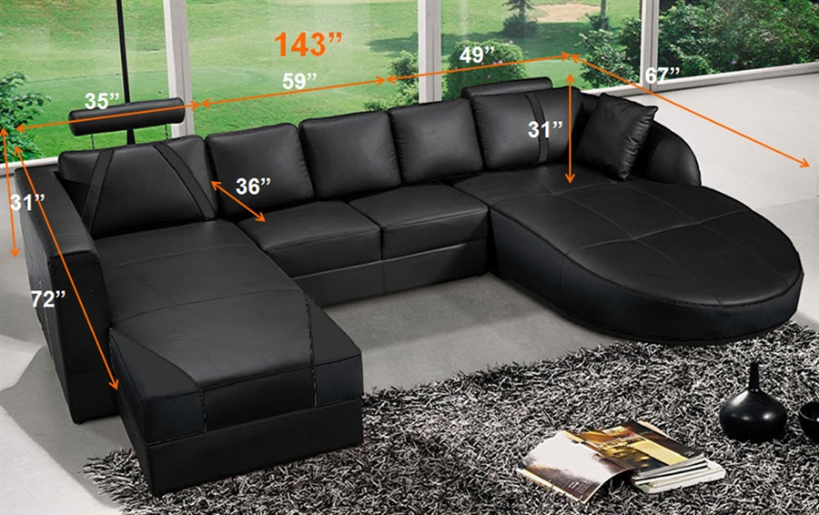 Ultra Contemporary Leather Sectional Sofa - Luna