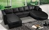 Ultra Modern Black Italian Leather Sectional Sofa CP-2211-BK