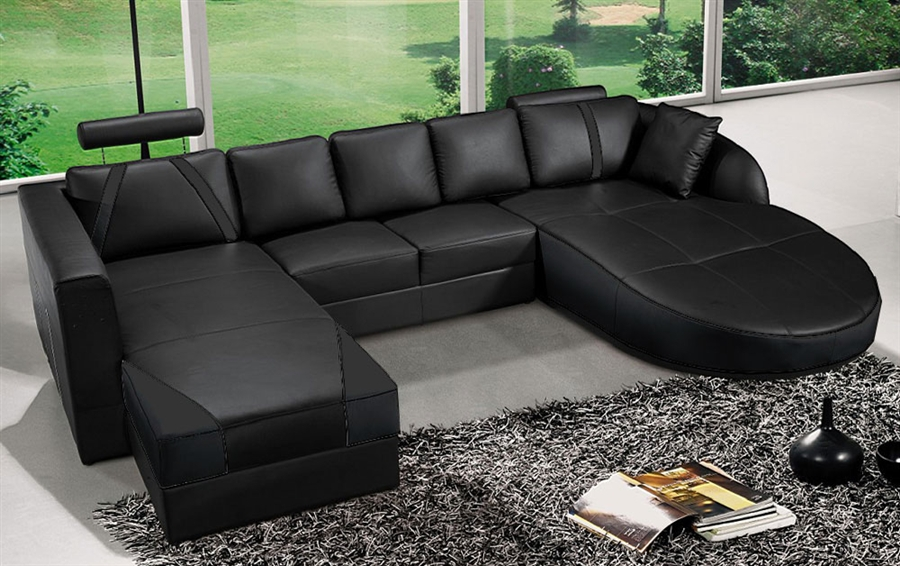 Ultra Modern Black Italian Leather Sectional Sofa