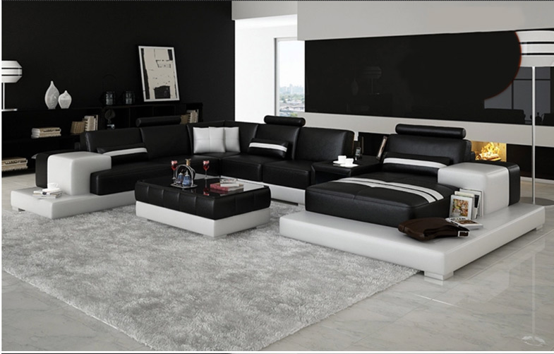 Modern Platform Sectional Sofa Set with Matching Table and Storage Server