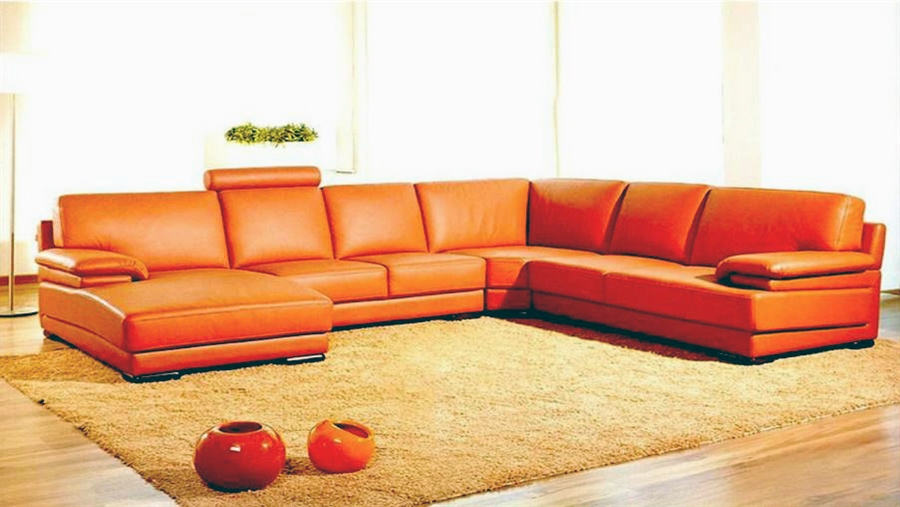 Contemporary Orange Leather Sectional Sofa with Chaise