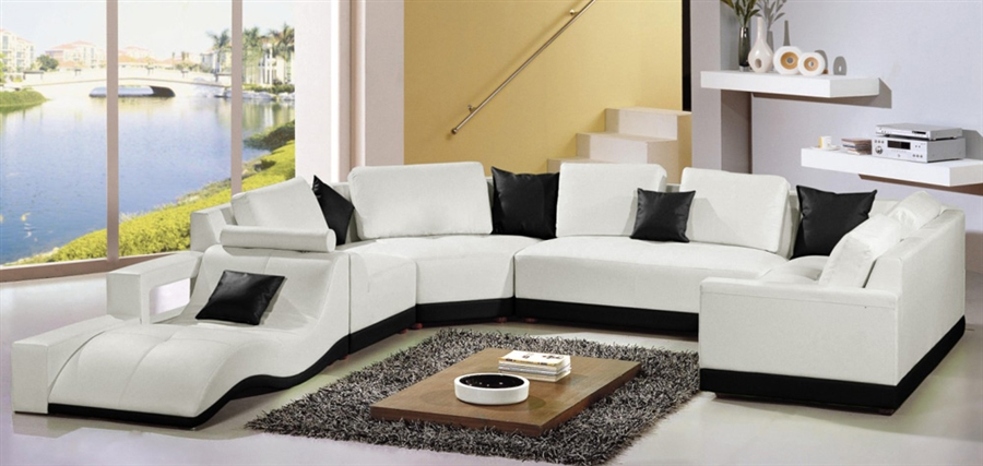 Tampa Contemporary Leather Sectional Sofa Set CP-2264B