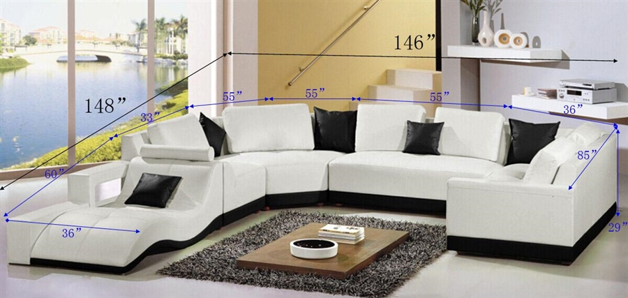 Tampa Contemporary Leather Sectional Sofa Set - White / Black