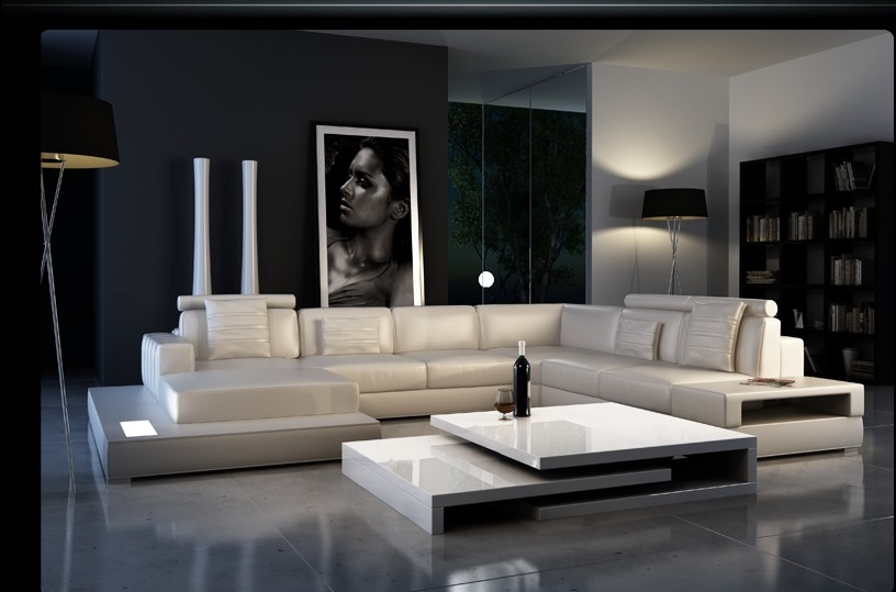 Ultra Modern Leather Sectional Sofa with Built in Light