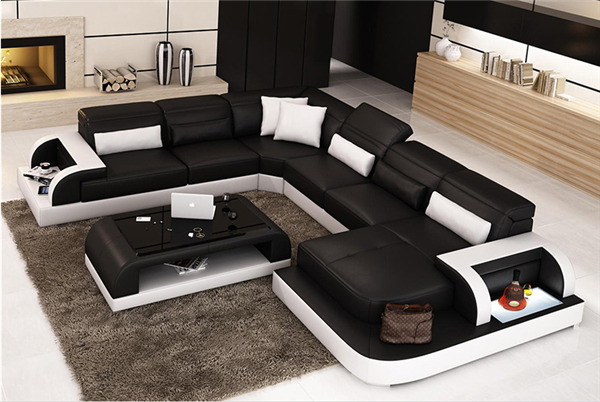 Contemporary Leather Fashion Sectional Sofa with White Accents