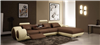 4085 Beige & Brown Leather Living Room Sectional Sofa With Built-in Recliner CP-4085