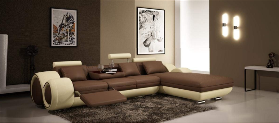 4085 Beige & Brown Leather Living Room Sectional Sofa With Built-in Recliner