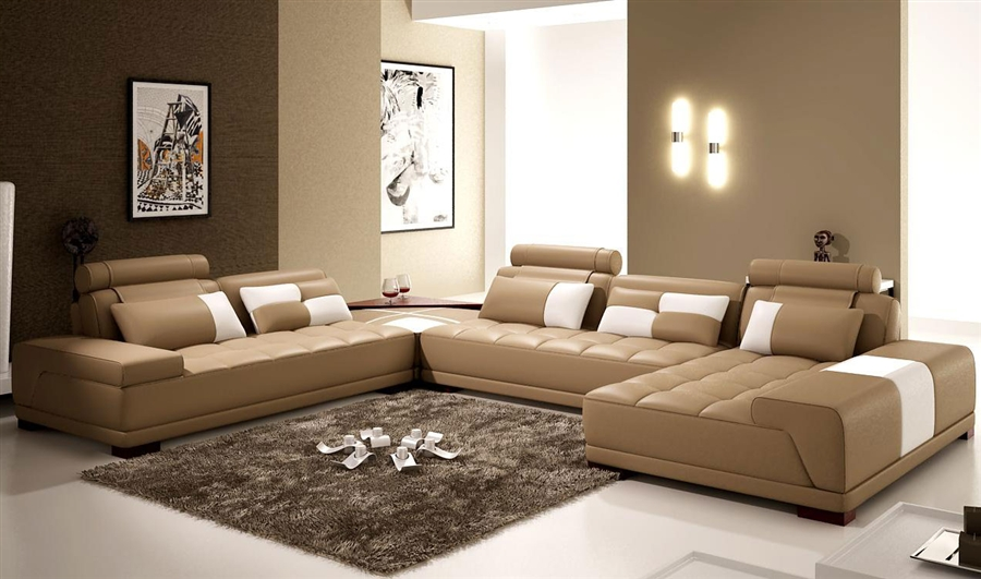 Contemporary Leather Taupe Sectional Sofa Cp-505