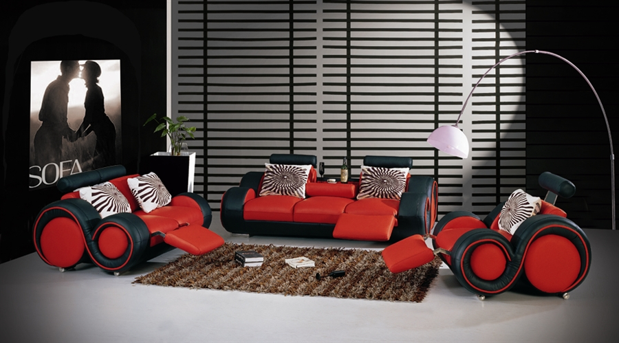 Modern Black and Red Sofa Set TOS-LF-8804-BLACKRED-BN