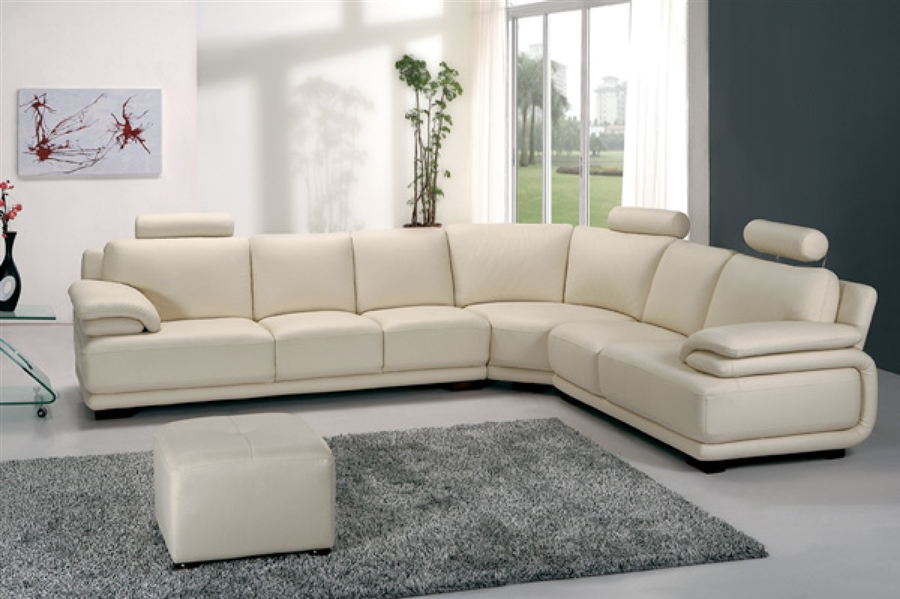 Modern Off White Sectional Sofa With Small Ottoman