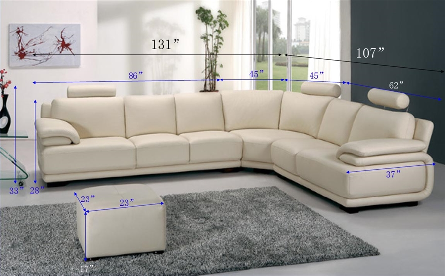 Modern Off White Sectional Sofa With