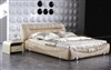 Retro-Metro Cream Bunched Leather and Fabric Bed CP-B1166