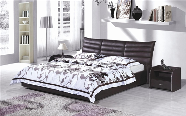 Dark Chocolate Leather Etriende Bed CP-B1175