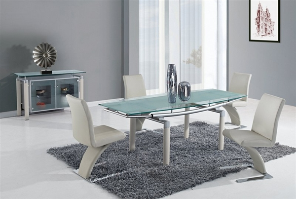 Contemporary Dining 5 Piece Glass Table Set