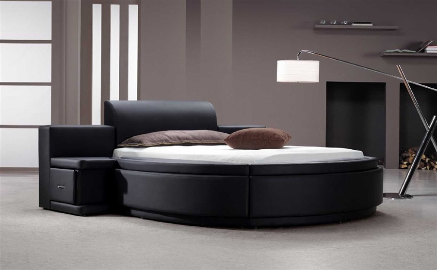 Black Leather Round Bed with Drawers and Storage T10