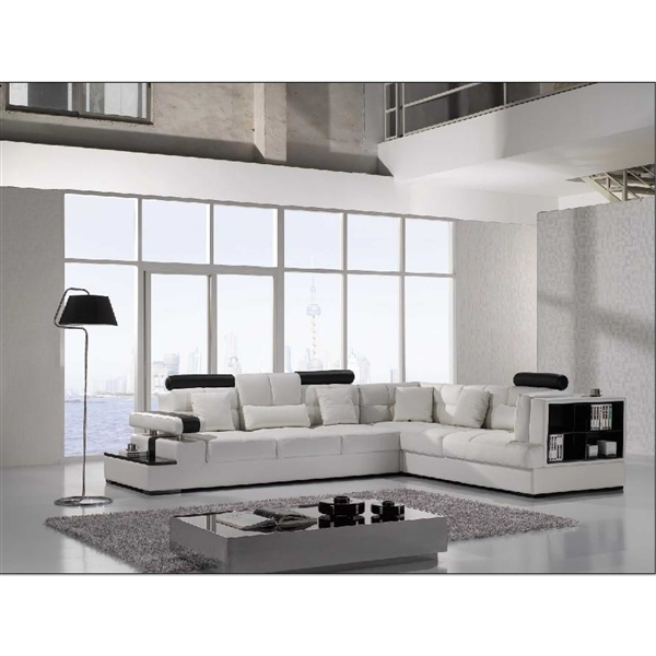 Contemporary Leather Sectional Accent Sofa with Shelf and Table. Model: CP-T117