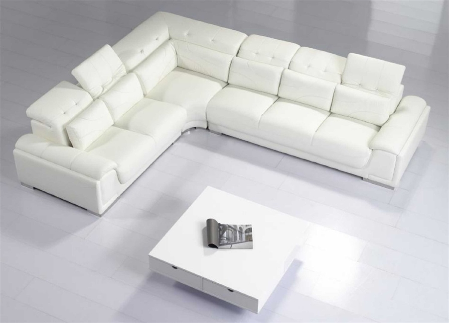 White Leather Sectional Sofa w Adjustable Headrest and Pillows