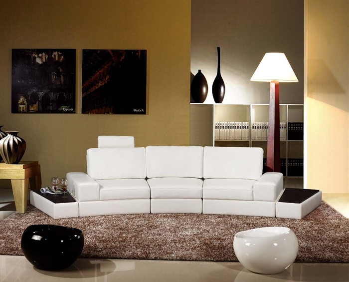 Contemporary Curved Modular Sectional Sofa With End Tables FRV - End table for sectional sofa