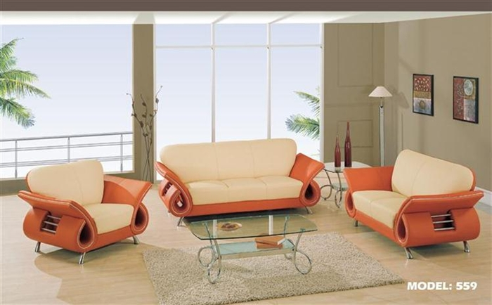 Clark Collection Modern Leather Living Room Set 559 LV Part 31
