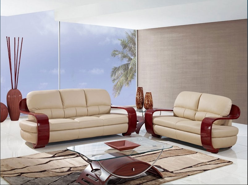Dylan Collection Cappuccino Leather Living Room Set with Mahogany Arms