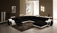 Contemporary Italian Design Black & white Franco Modern Sectional Designer Sofa LF-4084-BW