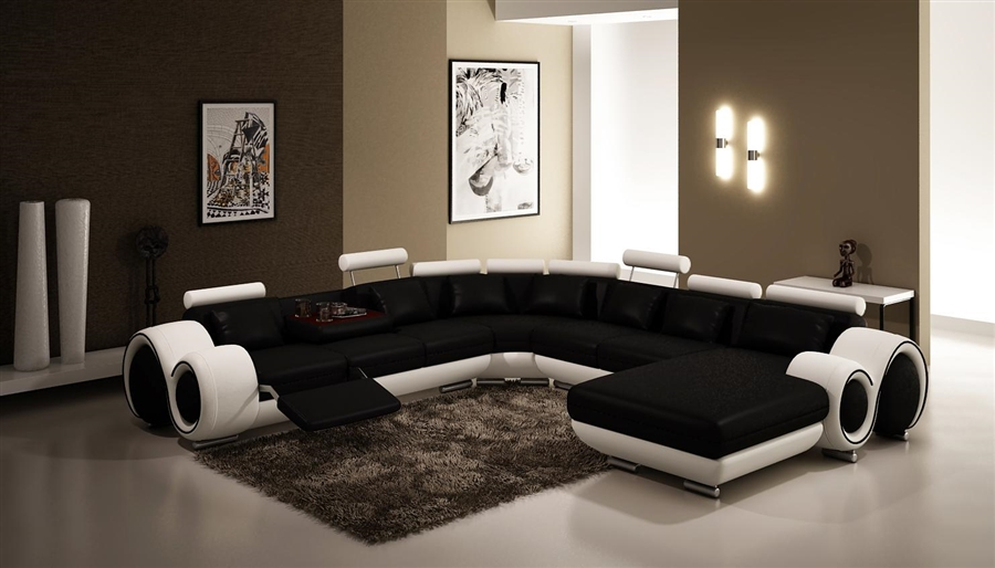 Contemporary Italian Design Black & white Franco Modern Sectional Designer  Sofa