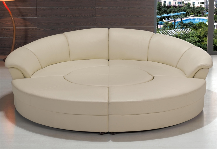 Modern Circle Sectional Sofa Set with Table - Ivory