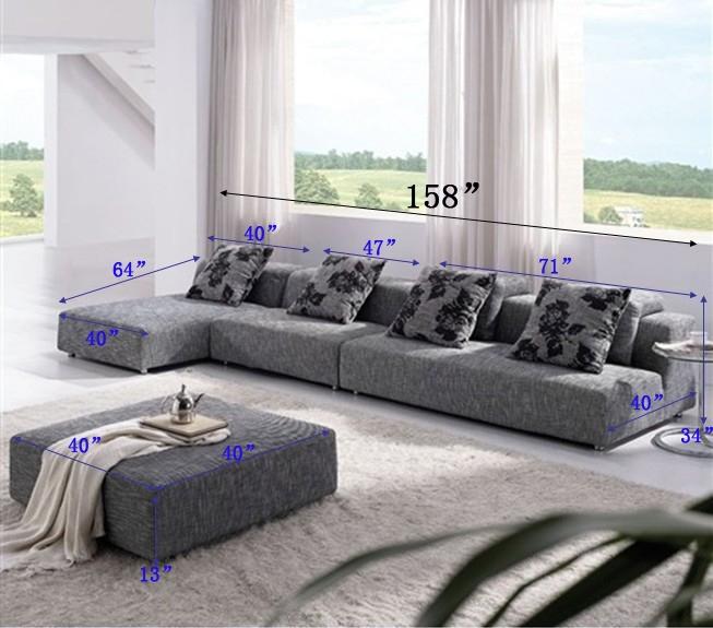Modern Zebrano Fabric Sectional Sofa