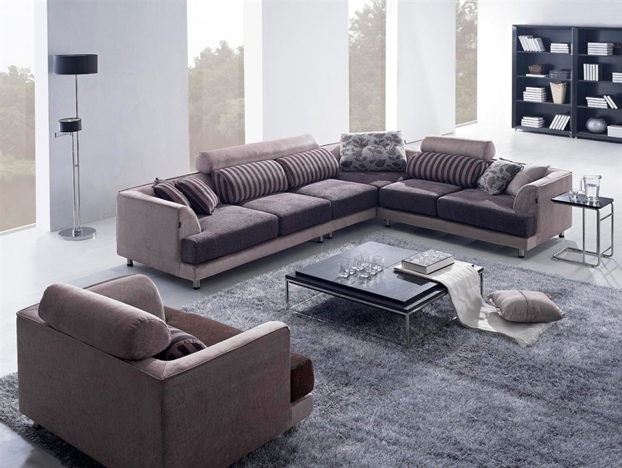 Beige Fabric Sectional Sofa Tos Anm313 39