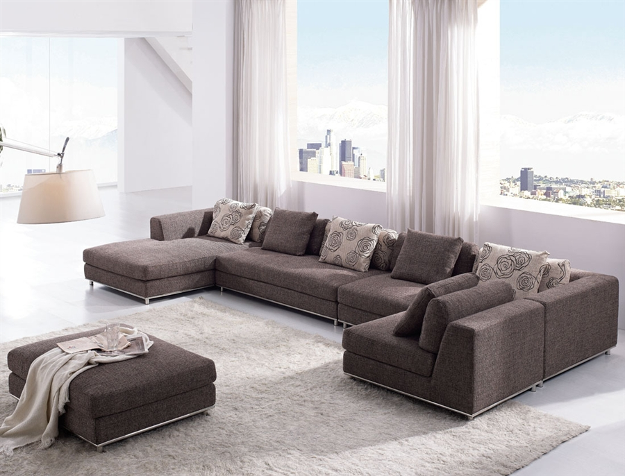 Modern Brown Fabric Sectional Sofa TOS ANM9708 2