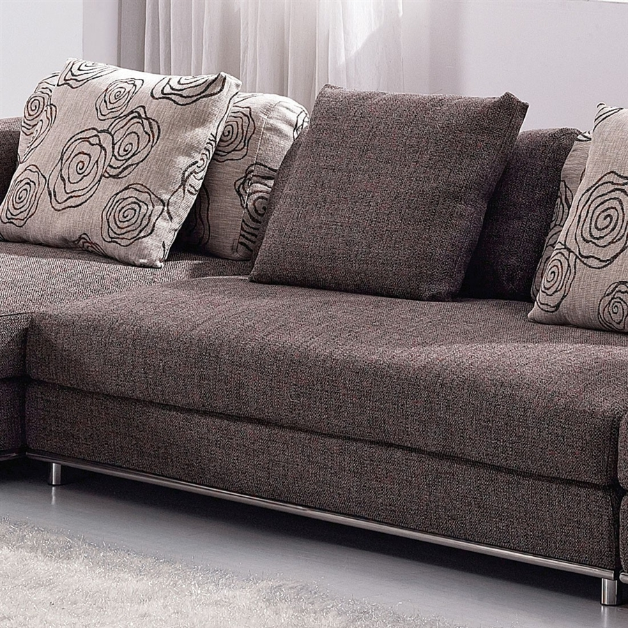 Contemporary Modern Brown Fabric Sectional Sofa