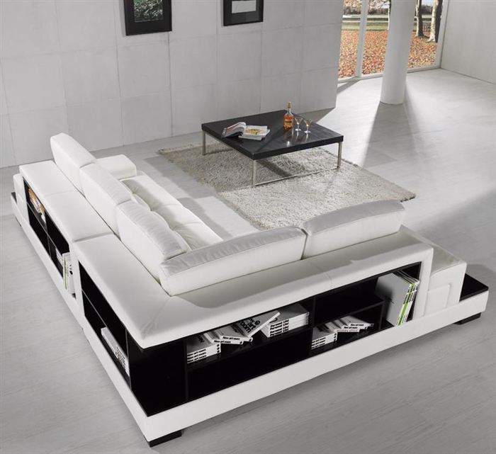 White Bonded Leather Sectional Sofa with Storage TOS-DG-CF970-EX6002