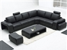 Modern Black Leather Sectional Set TOS-FY560-3