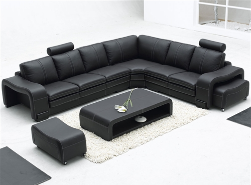 Modern Black Leather Sectional Set