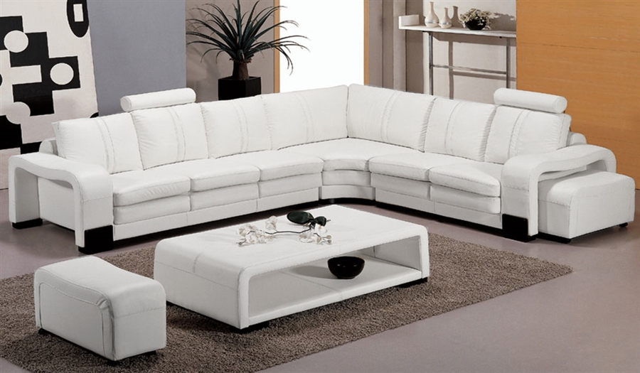 Modern White Leather Sectional Living Room Set