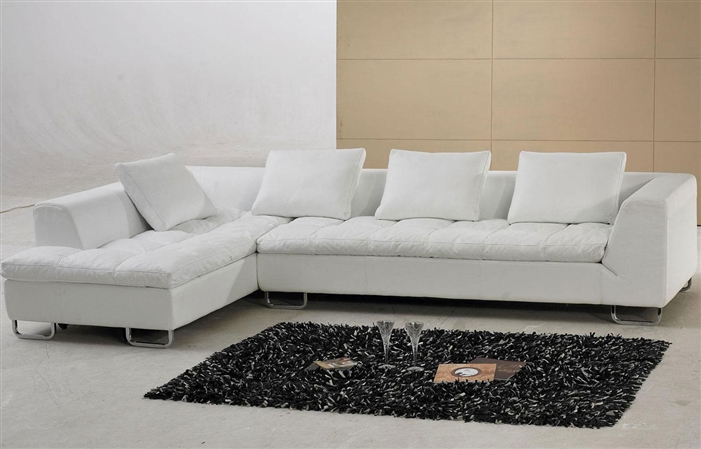 White Leather Sectional Sofa with Pillow Top Design