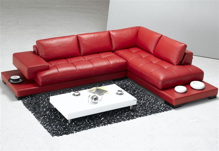 Modern Red Leather Sectional Sofa Tos